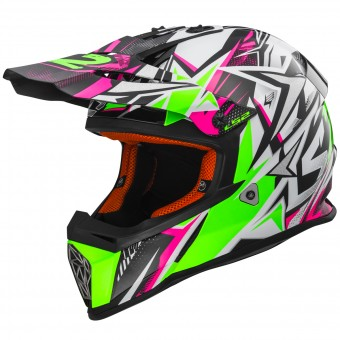Casque Motocross LS2 Fast Strong White Green Pink MX437