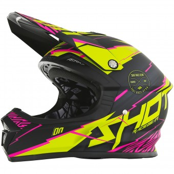 Casque Motocross SHOT Furious Infinity Lime Pink Matt