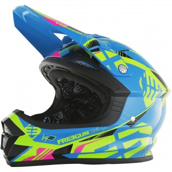 Casque Motocross Freegun XP-4 Link Blue Lime