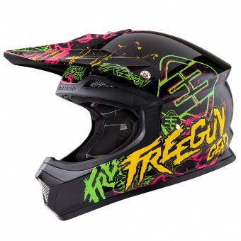 Casque Motocross Freegun XP-4 Overload Green Orange