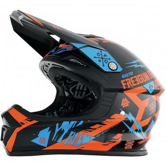 Casque Motocross Freegun XP-4 Trooper Neon Orange Cyan