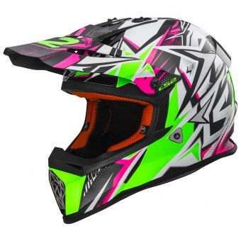 Casque Kids LS2 Fast Mini Strong White Green Pink MX437J
