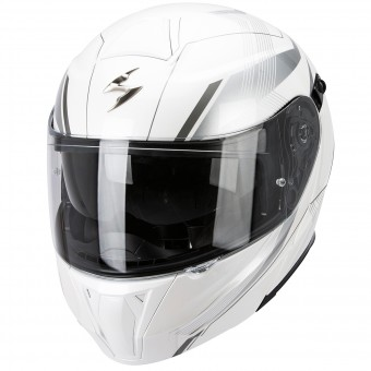 Casque Flip Up Scorpion Exo 920 Gem Pearl White Silver
