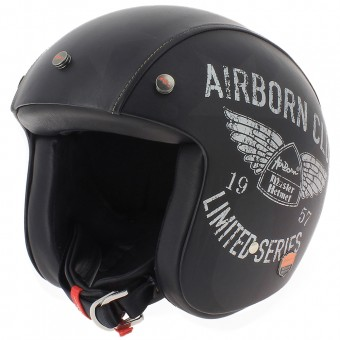 Casque Open Face Airborn Steve AB+ 42 Black Leather