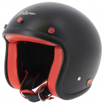 Casque Open Face Airborn Steve AB 11 Matt Black Red