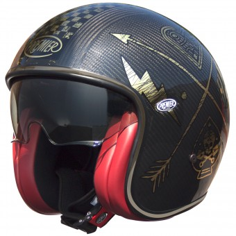 Casque Open Face Premier Vintage Carbon NX Gold Chromed