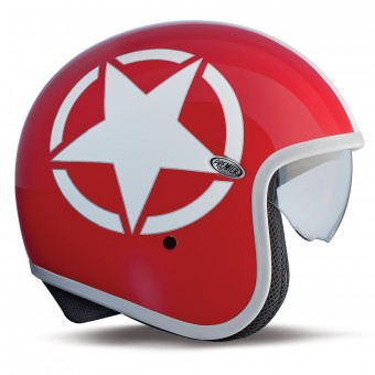 Casque Open Face Premier Vintage Carbon Star Red