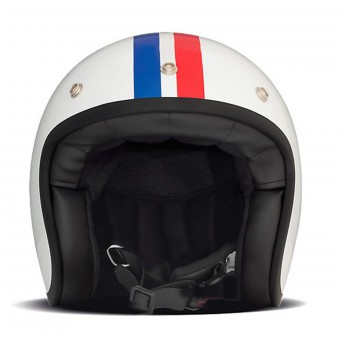 Casque Open Face Dmd Vintage Triple White ( Blue White Red )