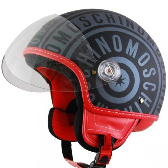 Casque Open Face Moschino Logo Ardoise Mat