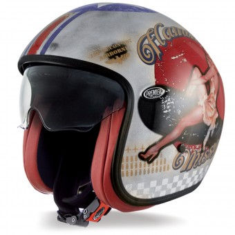 Casque Open Face Premier Vintage Pinup Old Style Silver