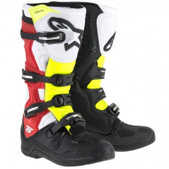 Motocross Boots Alpinestars Tech 5 Black Red Yellow Fluo