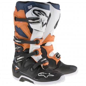 Motocross Boots Alpinestars TECH 7 Black Orange White Blue