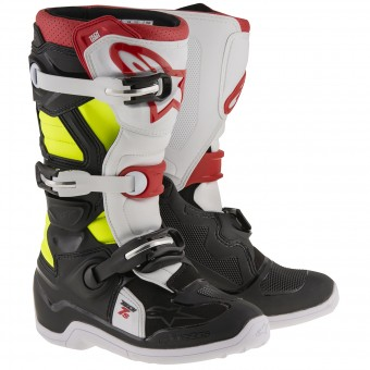 Motocross Boots Alpinestars TECH 7 S Black Red Yellow Fluo Child