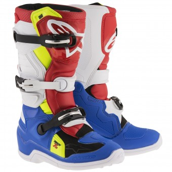 Motocross Boots Alpinestars TECH 7 S Blue Red Yellow Fluo Child