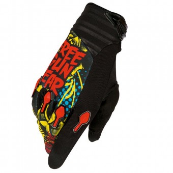 Motocross Gloves Freegun Devo Iron Black Red Blue Kid