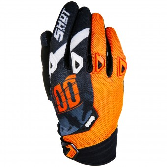 Motocross Gloves SHOT Devo Squad Orange Black