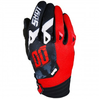 Motocross Gloves SHOT Devo Squad Red Black