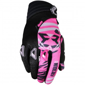 Motocross Gloves Freegun Devo Trooper Pink Black Kid
