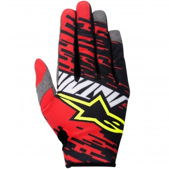 Motocross Gloves Alpinestars Racer Braap Red Black Kid