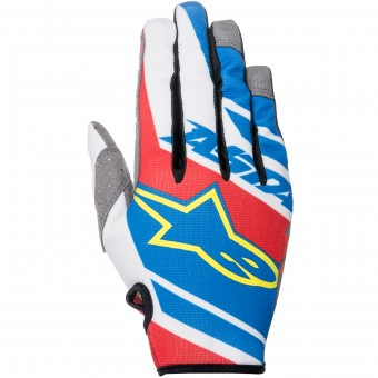 Motocross Gloves Alpinestars Racer Supermatic Blue Red White Kid