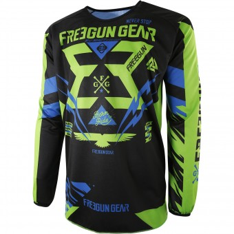 Motocross Jerseys Freegun Devo Trooper Green Blue Kid