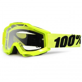 Motocross Goggles 100% Accuri Fluo Yellow Clear Lens Kid