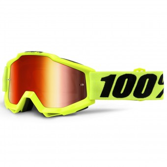 Motocross Goggles 100% Accuri Fluo Yellow Mirror Red Lens Kid