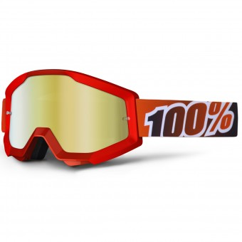 Motocross Goggles 100% Strata Fire Red Mirror Gold Lens