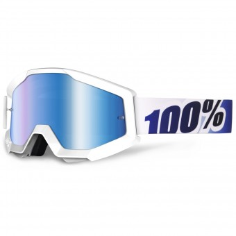 Motocross Goggles 100% Strata Ice Age Mirror Blue Lens