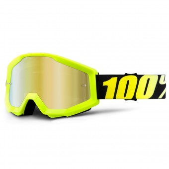 Motocross Goggles 100% Strata Neon Yellow Mirror Gold Lens