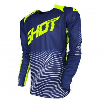 Motocross Jerseys SHOT Aerolite Optica Blue Neon Yellow