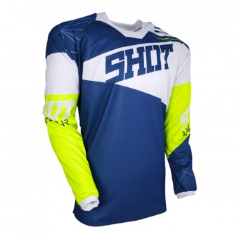 Motocross Jerseys SHOT Contact Infinite Blue White Neon Yellow