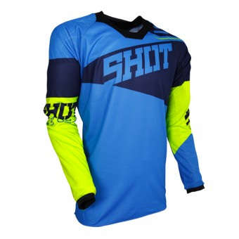 Motocross Jerseys SHOT Contact Infinite Blue Neon Yellow