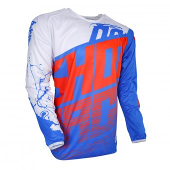 Motocross Jerseys SHOT Devo Venom Blue White Neon Orange Kid