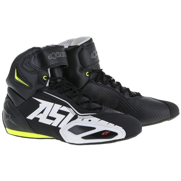 Motorcycle Trainers Alpinestars Faster 2 Black White Yellow Fluo Red