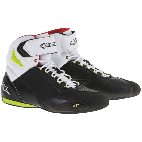 Motorcycle Trainers Alpinestars Faster 2 Black Yellow Fluo Red