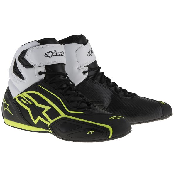 Motorcycle Trainers Alpinestars Faster 2 Waterproof Black White Yellow Fluo