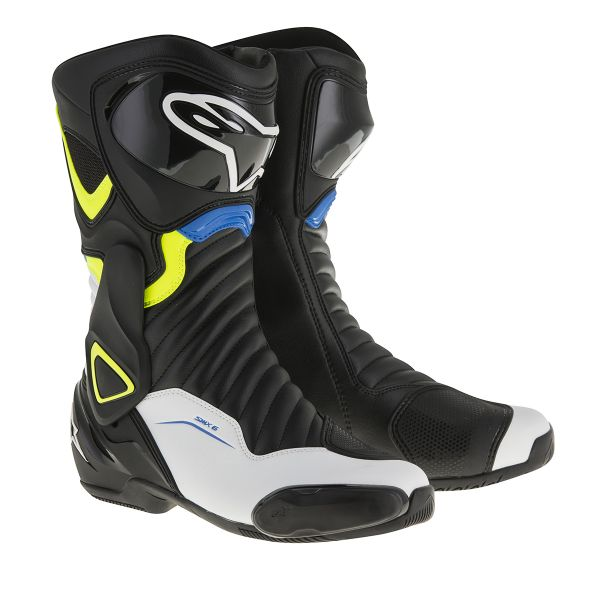 Motorcycle Boots Alpinestars SMX-6 V2 Black Yellow Fluo Blue