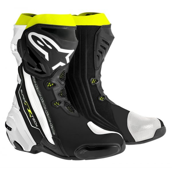 Motorcycle Boots Alpinestars Supertech R Black White Yellow Fluo