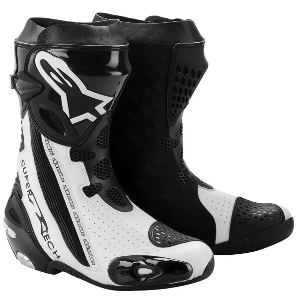 Motorcycle Boots Alpinestars Supertech R Black White Vented
