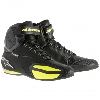 Motorcycle Shoes Alpinestars Faster Waterproof Black Yellow Fluro
