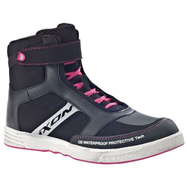 Motorcycle Trainers Ixon Slack Lady Black White Fuchsia