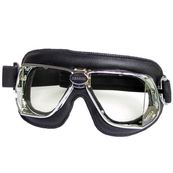 Motorcycle Goggles Nannini Custom Chrome Black