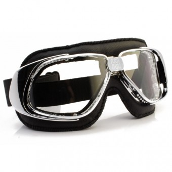 Motorcycle Goggles Nannini Rider Chrome Black