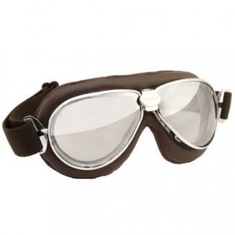 Motorcycle Goggles Nannini TT Chrome Brown