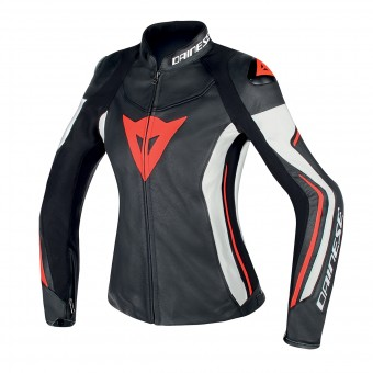 Motorcycle Jackets Dainese Assen Lady Black White Red Fluo