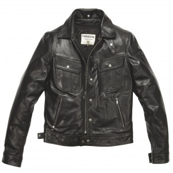 Motorcycle Jackets Helstons Cannonball Leather Rag Black