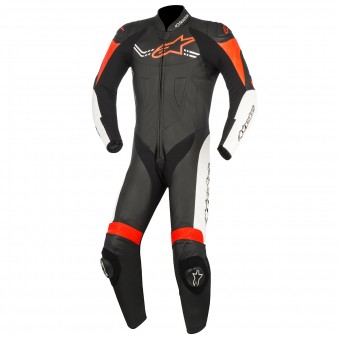 Leather Motorcycle Suits Alpinestars Challenger V2 Black White Red Fluo