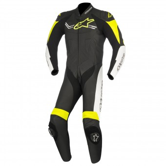 Leather Motorcycle Suits Alpinestars Challenger V2 Black White Yellow Fluo