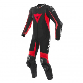 Leather Motorcycle Suits Dainese D-Air Racing Misano Black Fluo Red